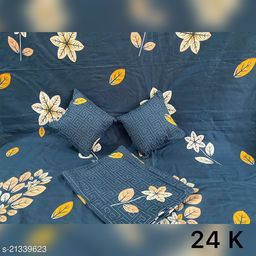 Premium  5PCS QUILTED SET WITH ONE DOUBLE BEDSHEET WITH 2 QUILTED PILLOW COVERS AND 2 QUILTED CUSHIONS WITH FILLERS IN BAG PACKING