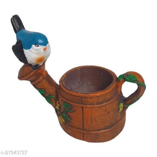 Bains Cute Bird on Kettle Poly Resin Fiber Planter Pot for Succulents, Cactus, Artificial Flower, Plant Container, Bonsai with A Drainage Hole Multicolor 1 Piece
