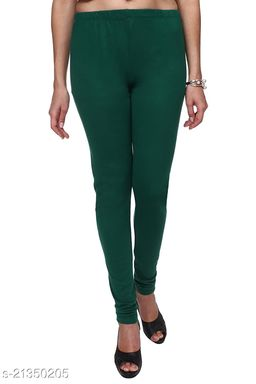 Ultra Soft Cotton Churidar Solid Regular Size Legging for Womens and Girls - Fits All, Color- Green