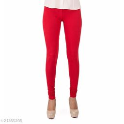 Ultra Soft Cotton Churidar Solid Regular Size Legging for Womens and Girls - Fits All, Color- Red