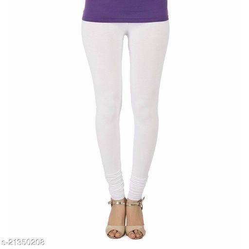 Ultra Soft Cotton Churidar Solid Regular Size Legging for Womens and Girls - Fits All, Color- White