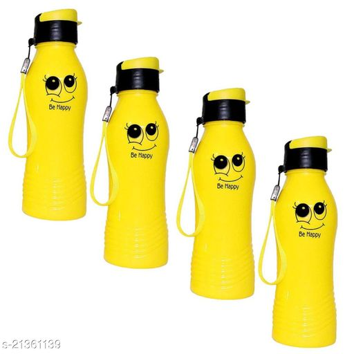 ShubhKraft Smiley Water Bottle for School Going Kids Girl & Boys,Gym,College,Cycling (Yellow) Pack of 15