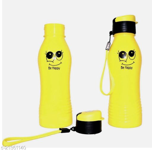 ShubhKraft Smiley Water Bottle Birthday Return Gifts for Kids (Yellow) Pack of2