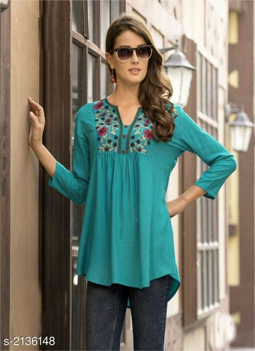 Kurtis & Kurtas Elegant  14 Kg Rayon Slub  Short  Kurti  *Fabric* 14 Kg Rayon Slub  *Sleeves* 3/4th Sleeves Are Included  *Size* M - 38 in,  L- 40 in, XL- 42 in  *Length* Up To 44 in  *Type* Stitched  *Description* It Has 1 Piece Of Short  Kurti  *Work* Embroidery Work  *Sizes Available* S, M, L, XL *   Catalog Rating: ★4 (11)  Catalog Name: Disha  14 Kg Rayon Slub Short Kurtis Vol 2 CatalogID_283221 C74-SC1001 Code: 055-2136148-
