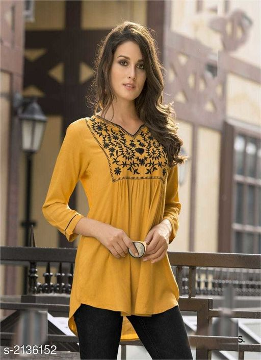 Kurtis & Kurtas Elegant  14 Kg Rayon Slub  Short  Kurti  *Fabric* 14 Kg Rayon Slub  *Sleeves* 3/4th Sleeves Are Included  *Size* M - 38 in,  L- 40 in, XL- 42 in  *Length* Up To 44 in  *Type* Stitched  *Description* It Has 1 Piece Of Short  Kurti  *Work* Embroidery Work  *Sizes Available* S, M, L, XL *   Catalog Rating: ★4 (11)  Catalog Name: Disha  14 Kg Rayon Slub Short Kurtis Vol 2 CatalogID_283221 C74-SC1001 Code: 055-2136152-