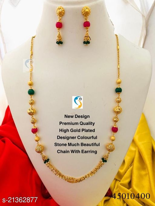 New design premium quality high gold plated colourful stone designer chain with earring.