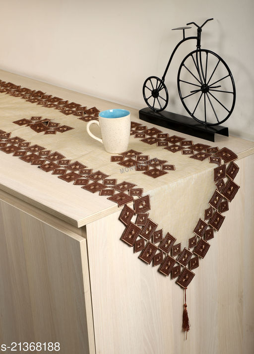 Tissue Cutwork Dining Table Runner (Size-70x15 Inches.)Brown Color.