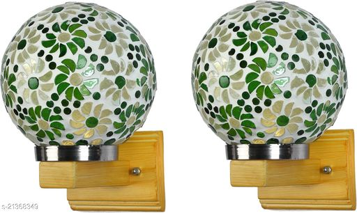 LED Sconce Wall Lamp Light WIth Decorated Hand Decorated Stylish Chimmni Glass Shade & Wood Fitting, 7 Watt, With All Fixture, (Set Of 2)