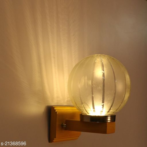 LED Sconce Wall Lamp Light WIth Decorated Hand Decorated Stylish Chimmni Glass Shade & Wood Fitting, 7 Watt, With All Fixture