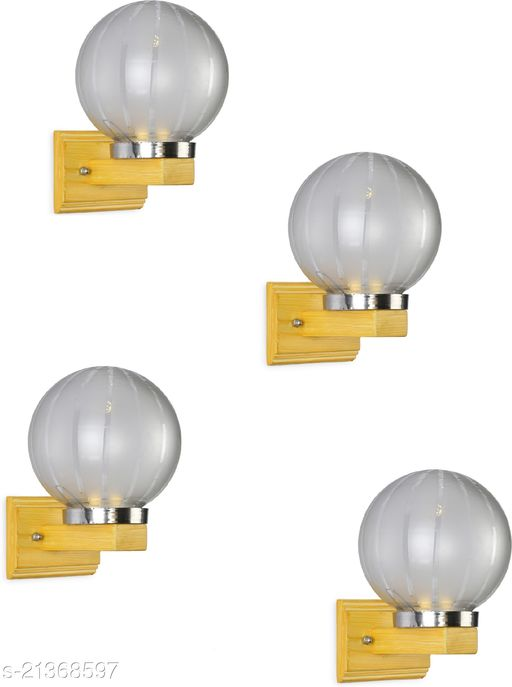 LED Sconce Wall Lamp Light WIth Decorated Hand Decorated Stylish Chimmni Glass Shade & Wood Fitting, 7 Watt, With All Fixture, (Set Of 4)
