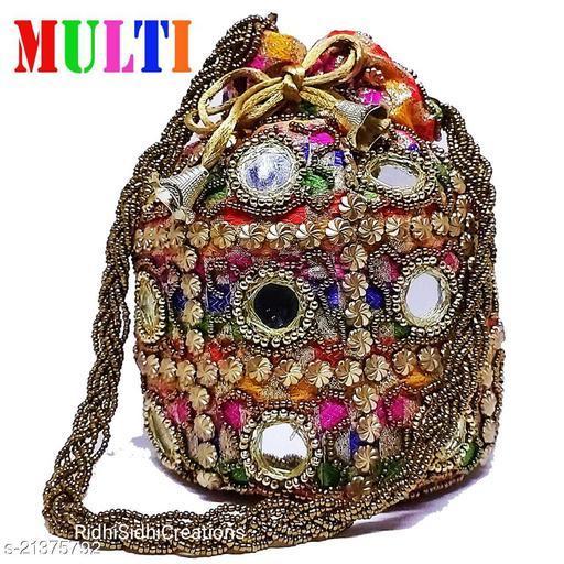 Beautiful Women's Multicolor Fabric Potlis