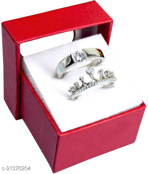 Adhvik Me & You His Her Stainless Steel Crystal Platinum Plated Adjustable Size Unique King and Queen Crown with Single Diamond Rings for Men's & Women's/husband & Wife/boyfriend & Girlfriend/king Queen/prince Princess with Red Box (Silver)