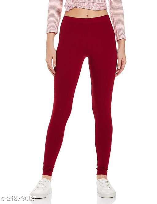 Ultra Soft Cotton Churidar Solid Regular Size Legging for Womens and Girls - Fits All, Color- maroon
