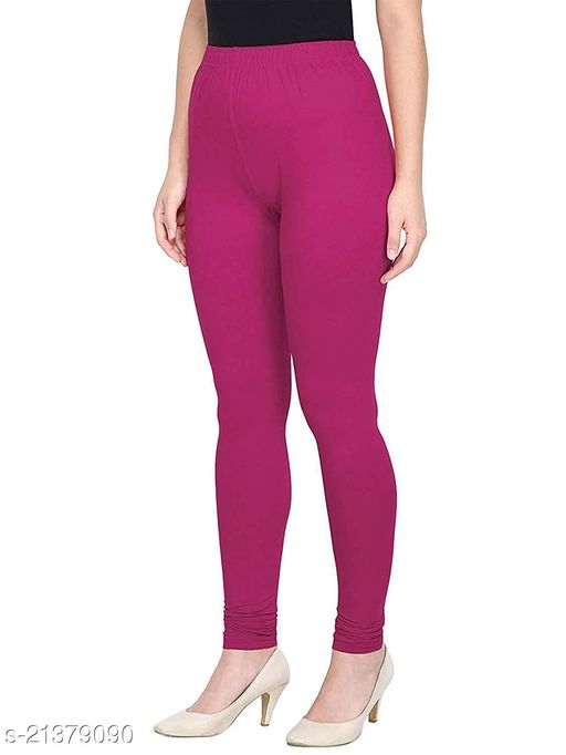 Ultra Soft Cotton Churidar Solid Regular Size Legging for Womens and Girls - Fits All, Color- purple