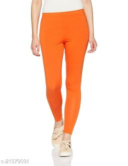 Ultra Soft Cotton Churidar Solid Regular Size Legging for Womens and Girls - Fits All, Color- orange