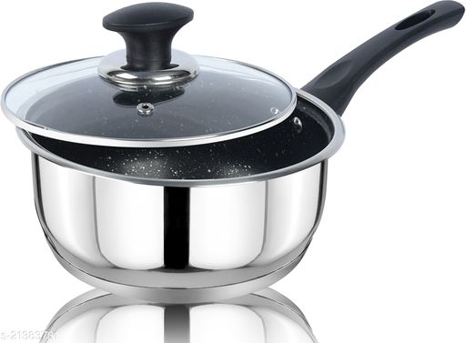 ETHICAL KITCHENART Stainless Steel Encapsulated Bottom Sauce Pan with Glass Lid 18cm Diameter Black