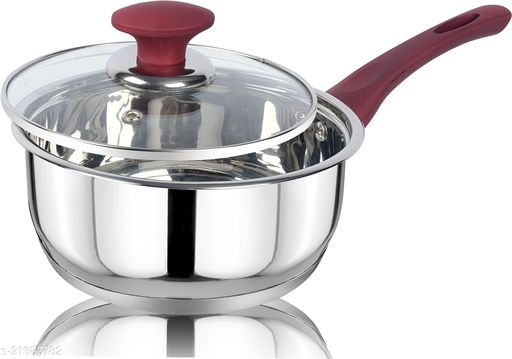 ETHICAL KITCHENART Stainless Steel Mirror Finish Red Soft Touch Handle Encapsulated Bottom Sauce Pan with Glass Lid 18cm Diameter