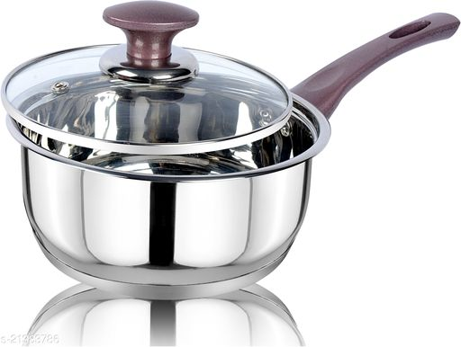 ETHICAL KITCHENART Stainless Steel Mirror Finish Peach Soft Touch Handle Encapsulated Bottom Sauce Pan with Glass Lid 18cm Diameter