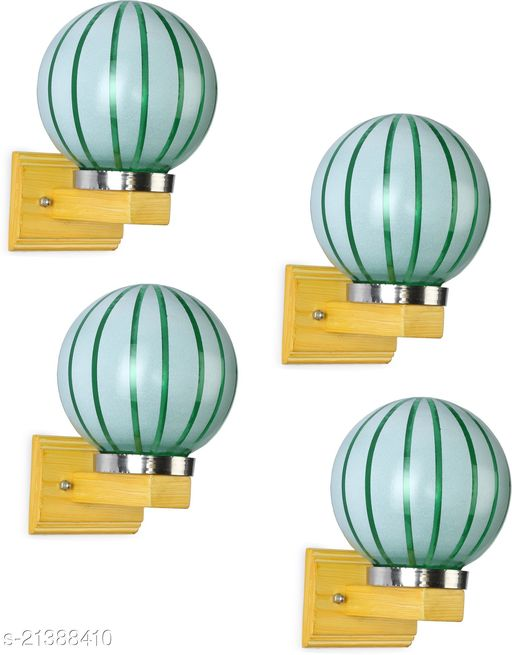 Hand Decorated Stylish LED Sconce Wall Lamp Light WIth Decorated Chimmni Glass & Wood Fitting, 7 Watt, With All Fixture, (Set Of 4)