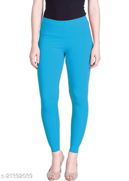 Ultra Soft Cotton Churidar Solid Regular Size Legging for Womens and Girls - Fits All, Color- light blue