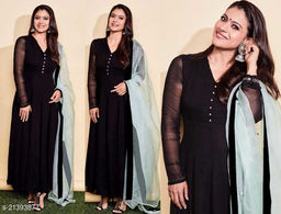 Attractive Black colored Georgette full stitched Box Plated partywear Floor touch Gown with pure organza Duppata
