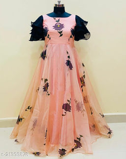 Stunning Peach-colored Organza Printed Full Flared Maxi Gown With Embellished Sleeves.
