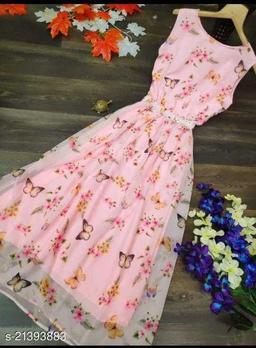 Eye-catching Peach Colored Digital Printed Georgette Designer  Gown