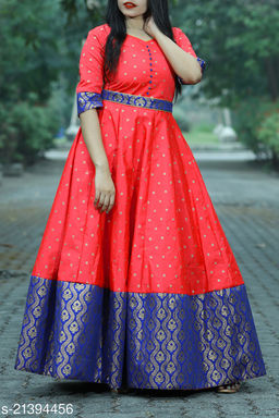 Designer Party Wear Readymade Cotton Gown