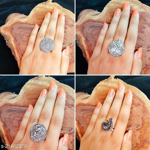 Four Oxidised Silver Adjustable Finger Ring- 52