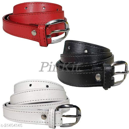 PinKit PU Leather Belt Combo Pack for Women/Ladies/Girls (Free Size, Fits Waist Size 26 to 34) - Red & Black & white (Pack of 3)