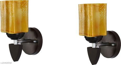 Attractive Colourful LED Sconce Glass Wall Light/ Night Lamp WIth Stylish Wood Fitting, 7 Watt, With All Fixture, (Set Of 2)