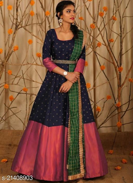 Navy Blue Satin Silk Designer Gown With Chanderi Dupatta