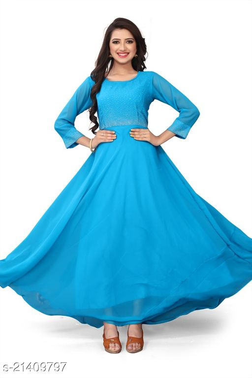 EXCLUSIVE BLUE COLORED CASUAL WEAR PRINTED GEORGETTE GOWN
