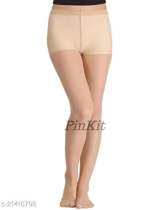 PinKit Women High Waist Black Stockings Fiber Excellent Stretch Sheer Tights Long Comfort Super Soft Pantyhose -Skin