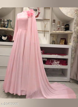 Designer Light Pink  Party Wear Printed Flared Georgette Gown With Dupatta