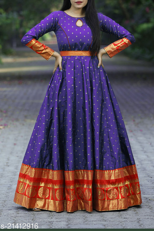 Designer Bule Colored Party Wear Readymade Cotton Gown