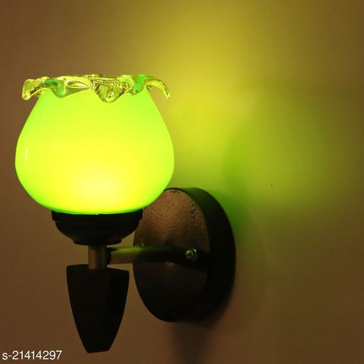 Colourful LED Sconce Glass Wall Light/ Night Lamp WIth Stylish Wood Fitting And Colourful Hand Decorated Glass Shade 7 Watt And Colourful Hand Decorated Glass Shade With All Fixture