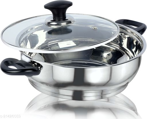 ETHICAL KITCHENART Stainless Steel Mirror Finish Black Soft Touch Handle Encapsulated Bottom Kadhai with Glass Lid 26cm Diameter