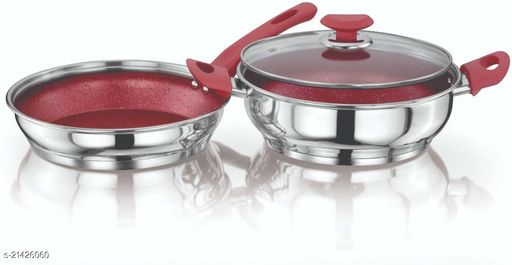 ETHICAL KITCHENART Stainless Steel Encapsulated Bottom 3PC Set (Fry Pan 1.9 L+ Kadai 2.9 L) 26 cm diameter  (Stainless Steel, Induction Bottom) Red