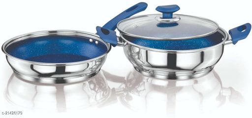 ETHICAL KITCHENART Stainless Steel Encapsulated Bottom 3PC Set (Fry Pan 1.9 L+ Kadai 2.9 L) 26 cm diameter  (Stainless Steel, Induction Bottom) Blue