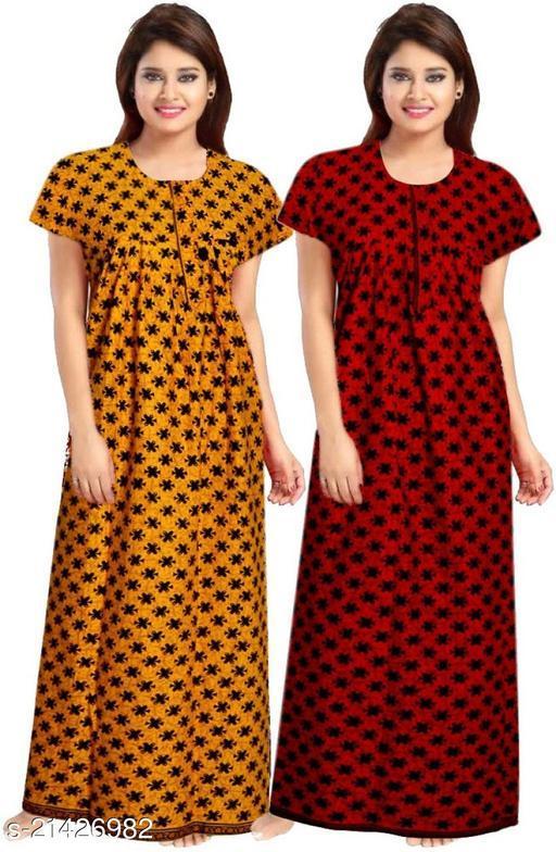jaipuri print pure cotton nighty set of 2 piece (pack of 2), cotton nighty