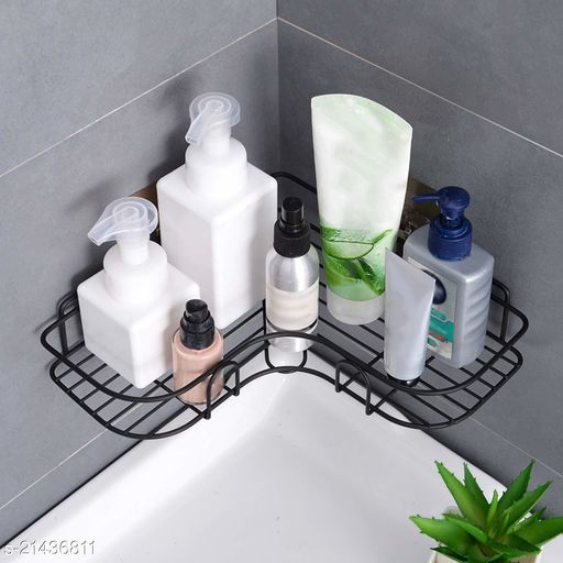 Midland Metal Bathroom / Kitchen Storage Shelf Rack with Magic Sticker Bath Rack Shelf Kitchen Rack (Pack of 1 Black)