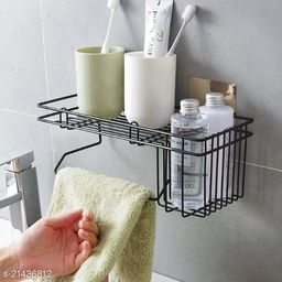 Midland Latest Storage Shelf with Towel Holder for Bath & Kitchen with Magic Sticker ( Pack of 1 Black )