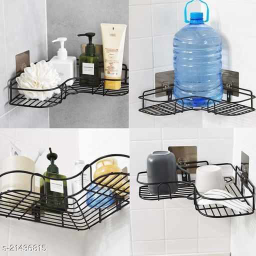 Midland Steel Storage Organizer Shelf Rack for Bathroom & Kitchen with Wall Mount Sticker ( Pack of 2 Black )