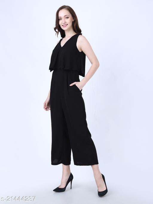 My Swag Women Black Color Solid Long Jumpsuit