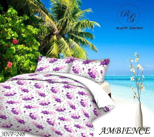 EXFAB 145 TC 3D Printed Polycotton Double Bedsheet with 2 Matching Pillow Covers (Multicolour, 90 inches X 90 Inches)