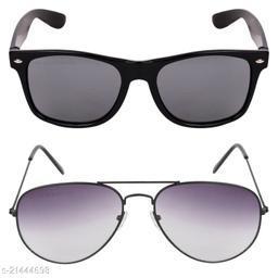 Criba_Rectangular Black & Aviator Grey_Sunglasses_Pack of 2