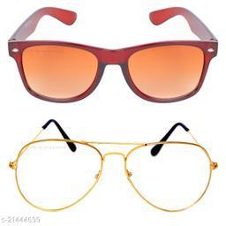 Criba_Rectangular Brown & Aviator Golden White_Sunglasses_Pack of 2