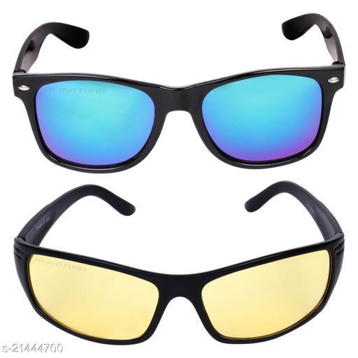Criba_Rectangular Mercury & Sports Yellow_Sunglasses_Pack of 2