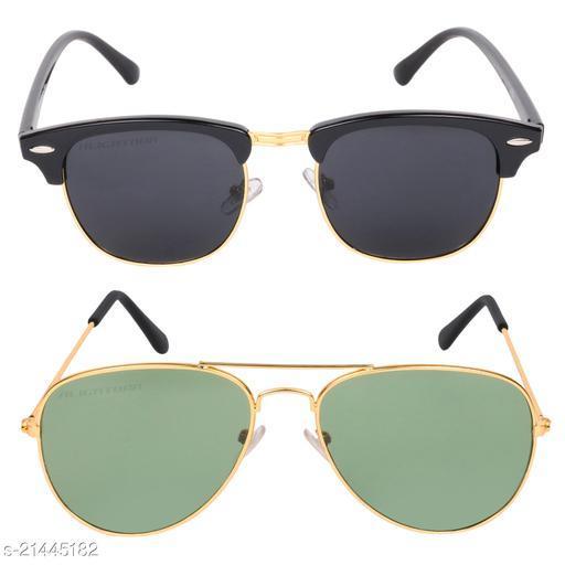 Criba_Club Master Black & Aviator Green_Sunglasses_Pack of 2
